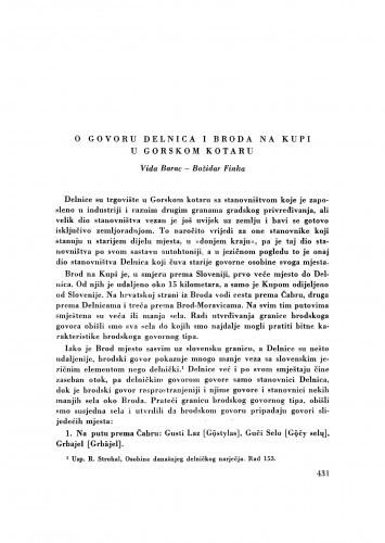 O govoru Delnica i Broda na Kupi u Gorskom kotaru / V. Barac i B. Finka