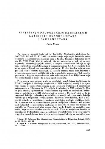 Izvještaj o proučavanju najstarijih latinskih evanđelistara i sakramentara / J. Vrana