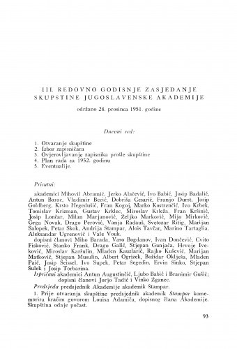 III. redovno godišnje zasjedanje skupštine Jugoslavenske akademije održano 28. prosinca 1951. godine