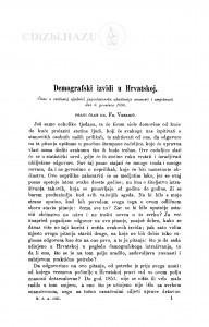 Demografski izvidi u Hrvatskoj / F. Vrbanić