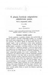 K pitanju korekcije astigmatizma subjektivnim putem (Nova astigmatska tabela) / Ante Gardilčić