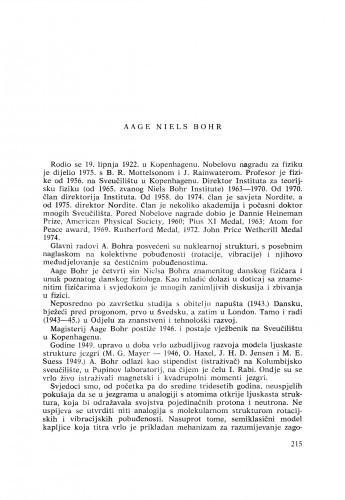 Aage Niels Bohr : [biografije novih članova Akademije]