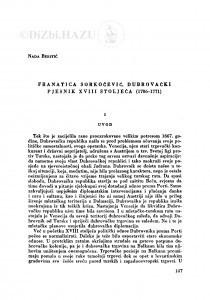 Franatica Sorkočević, dubrovački pjesnik XVIII stoljeća (1706-1771) / N. Beritić