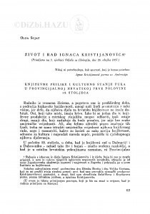 Život i rad Ignaca Kristijanovića / O. Šojat