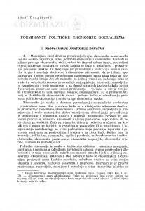 Formiranje političke ekonomije socijalizma / Adolf Dragičević