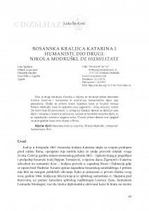 Bosanska kraljica Katarina i humanisti, dio drugi: Nikola Modruški, De humilitate / Luka Špoljarić