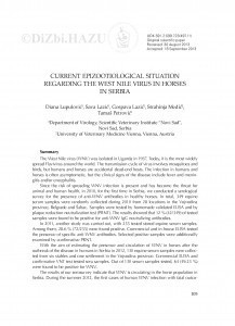 Current epizootiological situation regarding the West Nile virus in horses in Serbia / Diana Lupulović, Sava Lazić, Gospava Lazić, Strahinja Medić, Tamaš Petrović