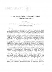 Characterization of West Nile virus outbreaks in Hungary : [summary] / Tamás Bakonyi