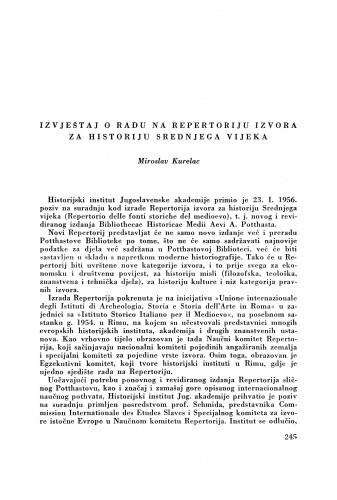 Izvještaj o radu na repertoriju izvora za historiju Srednjega vijeka / M. Kurelac
