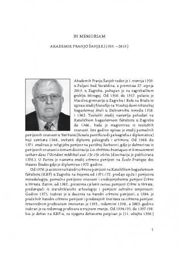 In memoriam akademik Franjo Šanjek (1939.-2019.) / Tado Oršolić, Branka Grbavac