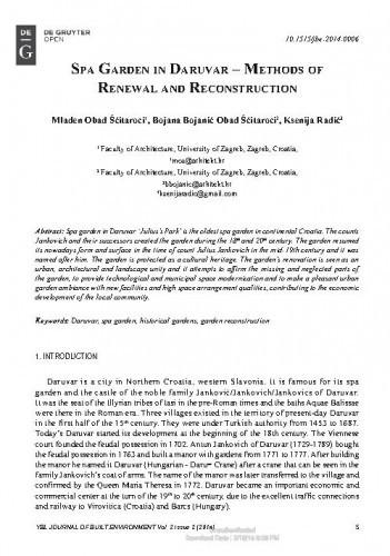 SPA garden in Daruvar – methods of renewal and reconstruction / Mladen Obad Šćitaroci, Bojana Bojanić Obad Šćitaroci, Ksenija Radić