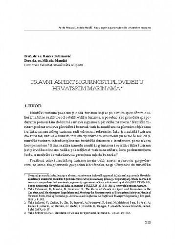 Pravni aspekt sigurnosti plovidbe u hrvatskim marinama / Ranka Petrinović, Nikola Mandić