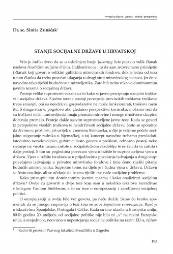 Stanje socijalne države u Hrvatskoj : [strateške zadaće] / Siniša Zrinščak