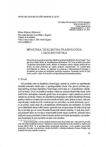 Hrvatska dijalektna frazeologija i geolingvistika / Mira Menac-Mihalić