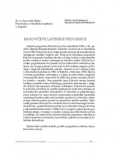 Đakovićeve latinske prigodnice / Irena Galić Bešker
