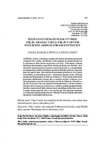 Rezultati istraživanja utvrde Ošlje-Gradac i selo Ošlje u općem povijesno-arheološkom kontekstu / Josipa Baraka Perica, Nikša Grbić