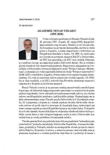 Akademik Nenad Vekarić (1955-2018) : in memoriam / Nella Lonza