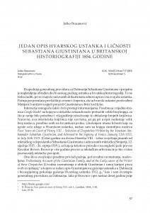 Jedan opis hvarskog ustanka i ličnosti Sebastiana Giustiniana u britanskoj historiografiji 1854. godine / Joško Bracanović