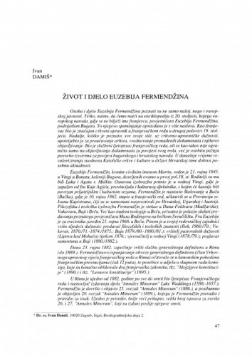 Život i djelo Euzebija Fermendžina / Ivan Damiš