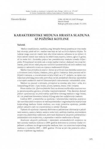 Karakteristike meduna hrasta sladuna iz Požeške kotline / Davorin Krakar