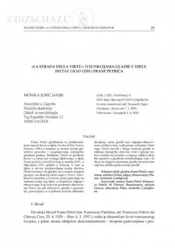 »La strada della virtù«: o funkcijama glazbe u djelu Sretan grad (1553.) Frane Petrića / Monika Jurić Janjik