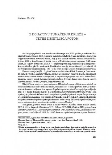 O Donatovu tumačenja Krleže - četiri desetljeća potom / Helena Peričić