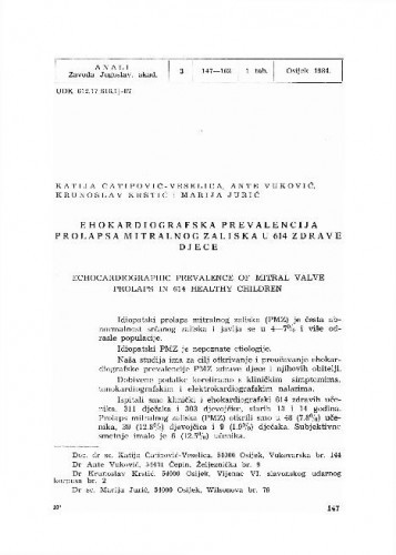 Ehokardiografska prevalencija prolapsa mitralnog zaliska u 614 zdrave djece / Katija Čatipović-Veselica, Ante Vuković, Krunoslav Krstić, Marija Jurić