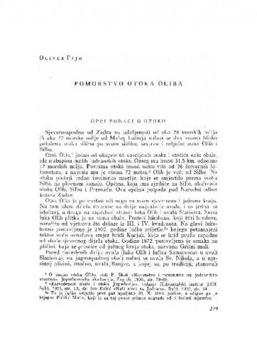 Pomorstvo otoka Oliba / Oliver Fijo