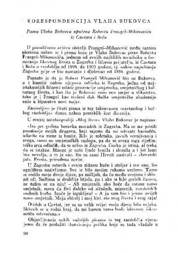Korespondencija Vlaha Bukovca : pisma Vlaha Bukovca upućena Robertu Frangeš-Mihanoviću iz Cavtata i Beča / M. Montani