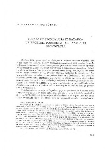O nalazu Spondylusa iz Ražanaca uz problem porijekla podunavskog Spondylusa / Aleksandar Stipčević