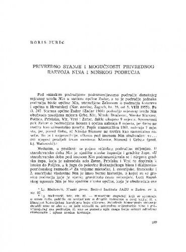 Privredno stanje i mogućnosti privrednog razvoja Nina i ninskog područja / Boris Jurić