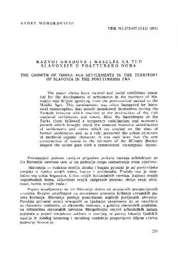 Razvoj gradova i naselja na tlu Slavonije u posttursko doba / Andre Mohorovičić