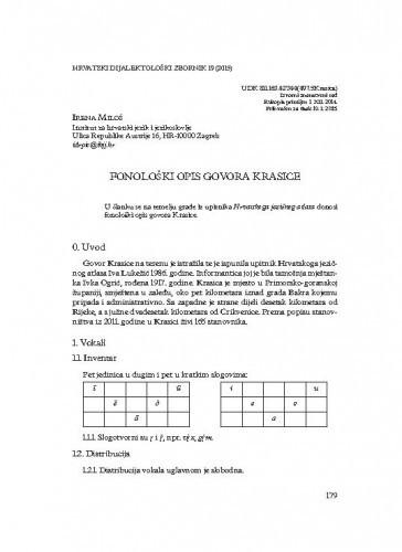 Fonološki opis govora Krasice / Irena Miloš