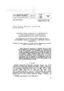 Petrološki prikaz ultramafita iz metamorfnog kompleksa središnjih dijelova Psunja / J. Pamić, D. Jamičić, J. Crnko