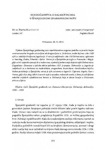 Svjedočanstva o Dalmatincima u Španjolskom građanskom ratu / Blanka Matković