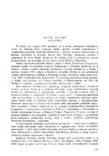 Ante Kadić (1910.-1998.) / Nedjeljko Mihanović