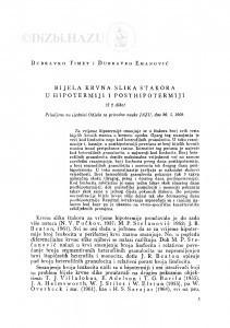 Bijela krvna slika štakora u hipotermiji i posthipotermiji / D. Timet i D. Emanović