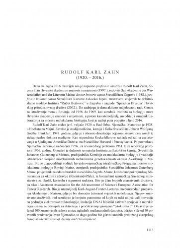 Rudolf Karl Zahn (1920.-2016.) : [nekrolog] / Nevenka Bihari, Renato Batel