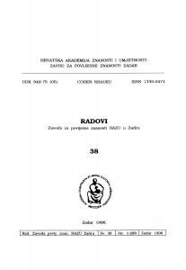 Sv. 38(1996) : Radovi Zavoda za povijesne znanosti HAZU u Zadru