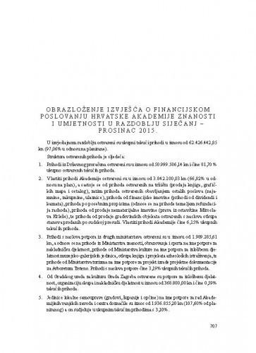 Obrazloženje Izvješća o financijskom poslovanju Hrvatske akademije znanosti i umjetnosti u razdoblju siječanj - prosinac 2015.
