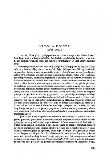Nikola Reiser (1918.-2010.) : [nekrolog] / Zvonko Maković