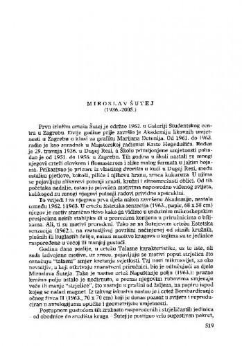 Miroslav Šutej (1936.-2005.) : [nekrolog] / Vera Horvat Pintarić
