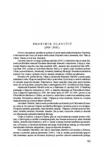 Branimir Glavičić (1926.-2010.) : [nekrolog] / Petar Šimunović