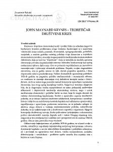 John Maynard Keynes - teoretičar društvene krize / Zvonimir Baletić