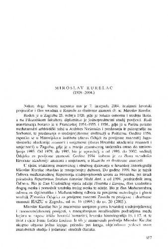 Miroslav Kurelac (1926.-2004.) : [nekrolog] / Tomislav Raukar