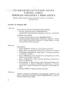 Program Znanstvenog skupa o životu i djelu Miroslava Kraljevića i Josipa Račića