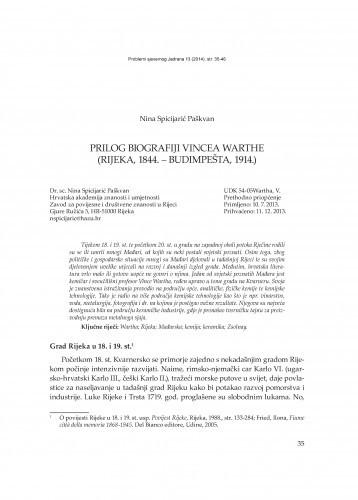 Prilog biografiji Vincea Warthe (Rijeka, 1844. - Budmipešta, 1914.) / Nina Spicijarić Paškvan