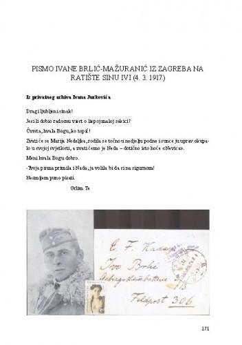 Pismo Ivane Brlić-Mažuranić iz Zagreba na ratište sinu Ivi (4. 3. 1917.)