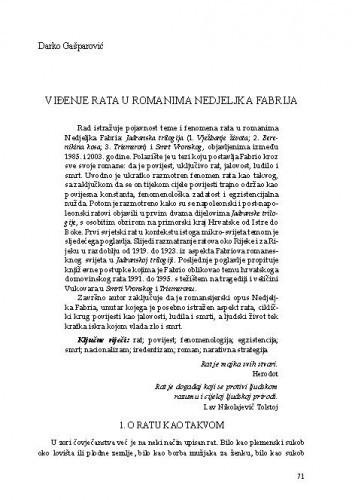 Viđenje rata u romanima Nedjeljka Fabrija / Darko Gašparović