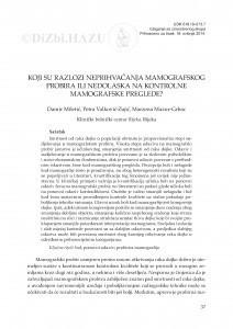 Koji su razlozi neprihvaćanja mamografskog probira ili nedolaska na kontrolne mamografske preglede? / Damir Miletić, Petra Valković-Zujić, Marzena Mazur-Grbac
